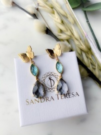 SANDRA TERESA CRYSTAL DROP EARRINGS AQUA PURPLE