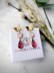 SANDRA TERESA CRYSTAL DROP EARRINGS PINK RED