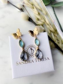 SANDRA TERESA CRYSTAL DROP EARRINGS AQUA PURPLE
