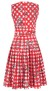 SAMANTHA SUNG AUDREY DRESS SLEEVELESS HORSECHAIN GINGAM RED COTTON SATINE STRETCH