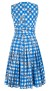 SAMANTHA SUNG AUDREY DRESS SLEEVELESS HORSECHAIN GINGAM BLUE COTTON SATINE STRETCH