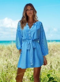 MELISSA ODABASH CATHY EMBROIDERED AZURE SHORT KAFTAN
