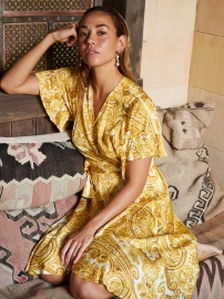 DEA KUDIBAL AUDREY SILK STRETCH WRAP DRESS PAISLEY YELLOW
