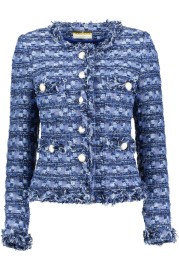 MARUSCHKA DE MARGO TWEED JACKET DENIM BLUE W SILVER  BUTTONS