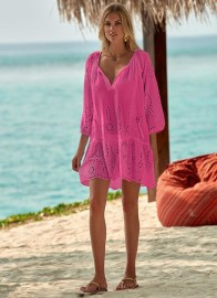 MELISSA ODABASH ASHLEY FLAMINGO SHORT KAFTAN
