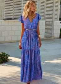 MELISSA ODABASH BLUE JAY PETAL DRESS
