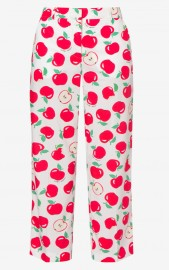 BOUTIQUE MOSCHINO APPLE PRINT CROPPED WHITE PANTS