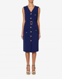BOUTIQUE MOSCHINO CRAZY POCKETS CADY DRESS NAVY