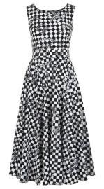SAMANTHA SUNG LV CHECKERS WHITE BLACK AVENUE DRESS