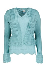 MISSONI SIGNATURE KNITTED RUFFLE CUFF CARDIGAN