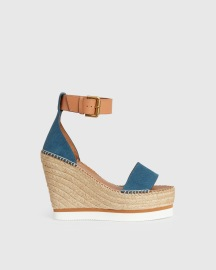 SEE BY CHLOE WEDGE HEEL DENIM SANDALS