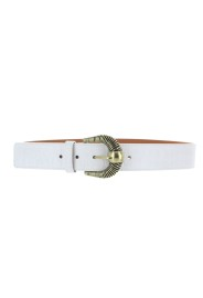 MAISON BOINET WHITE CROCO STAMPED LEATHER BELT