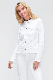 7 FOR ALL MANKIND WHITE FREYED COLLAR JEAN JACKET