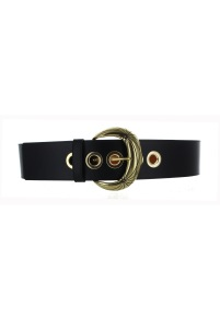 MAISON BOINET WIDE LEATHER WHITE BELT AND BRASS BUCLE