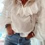 LOVESHACKFANCY ORLANDO COTTON LACE SWISS DOT BLOUSE