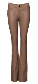 FRONTROW BOOTCUT STRETCH TAUPE LEATHER PANTS