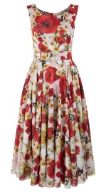 SAMANTHA SUNG DAISY POPPY WHITE RED ASTER DRESS