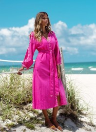 MELISSA ODABASH MELANIE FLAMINGO KAFTAN EMBROIDERED