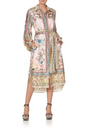 CAMILLA SILK HIGH LOW MIDI SHIRT DRESS PARTY IN THE PALACE