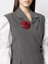 PHILOSOPHY DI LORENZO RED AND BLACK GINGAM FLORAL BROOCH