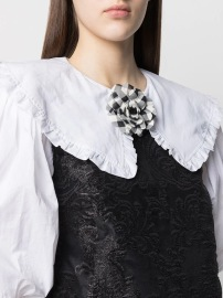 PHILOSOPHY DI LORENZO FLORAL BLACK AND WHITE GINGAM BROOCH