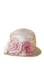 GREVI MULTI LIGHT HAT WITH PALE FLOWERS