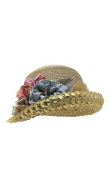 GREVI NATURAL & GOLD HAT WITH FLOWERS