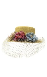 GREVI GOLD HAT WITH FLOWERS & VEIL