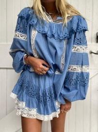 LOVESHACKFANCY ORLANDO COTTON LACE SWISS DOT BLUE BLOUSE