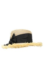 GREVI NATURAL LUX STRAW HAT WITH BLACK RIBBON