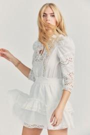 LOVESHACKFANCY ISADORA LACE RUFFLE MINI DRESS