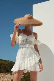CHARO RUIZ DENISSE LACE SHORT WHITE DRESS
