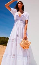CHARO RUIZ LONG WHITE THELMA LACE DRESS