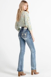 MISS ME SPARKLED WING BOOTCUT JEANS