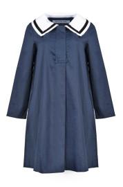 ACHEVAL SAILOR DRESS VELVET-TRIM NAVY BLUE COTTON-BLEND DRESS