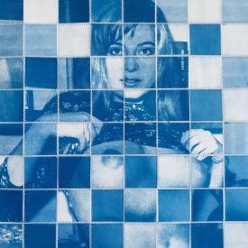 """Dark Blue"" Stitched cyanotype on paper, 2020"