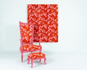 """""""You stained my chair"""" Screen-printed fabric, upholsterd installation, 2020"""
