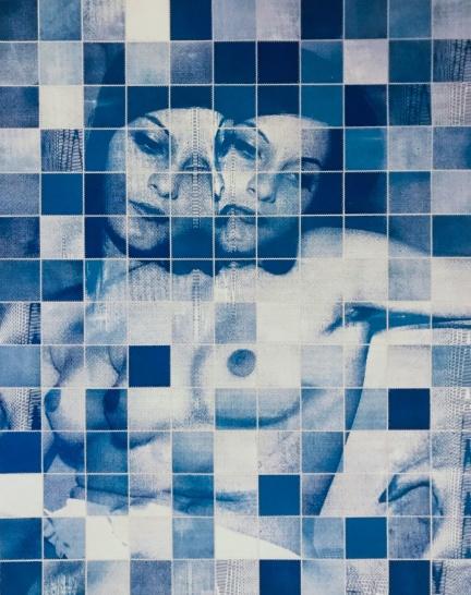 """Medium Blue"" Stitched cyanotype on paper, 2020"