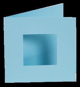 Dubbelvikta kort med utstansat hål - Ljusblå