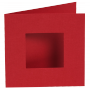 Dubbelvikta kort med utstansat hål - Röd