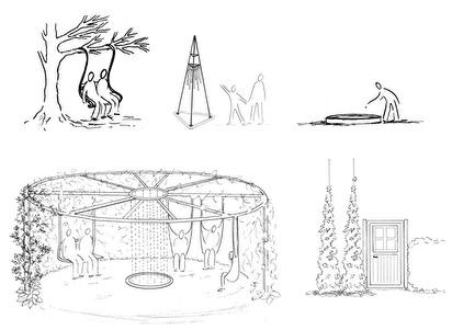 Illustrationer för trädgårdens innehåll och funktioner