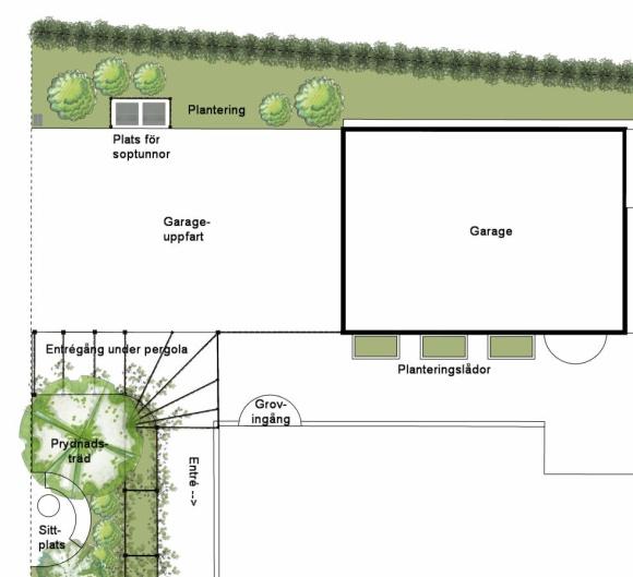 Uppfart och entré med plats för soptunnor och entrégång under pergola med klätterväxter.