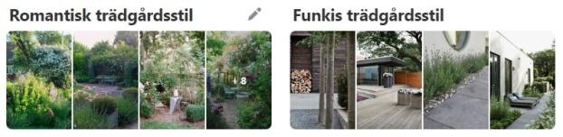 Smakprov på Pinterest-tavlor indelade efter stil och tema i trädgården