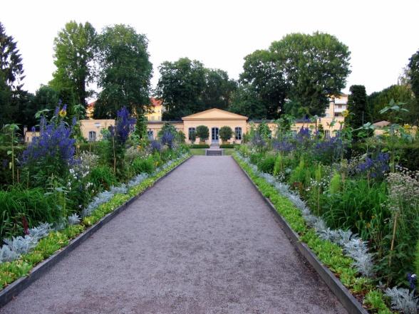 Linnéträdgårdens orangeri i blickfånget