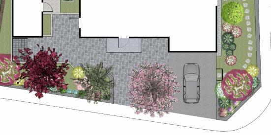 Den här entrén har jag ritat åt mina kunder, ett trevligt par som just köpt en tomt där de skulle bygga ett nytt hus. Här på framsidan ville de ha en lättskött och lummig entré med låga buskar och träd på stam, bland annat ett körsbärsträd som välkomnar våren med rosa blommor i stora mängder.  Med låga buskar i kombination med träd på stam får de nu en grönskande och välplanerad entré, utan att det känns instängt och alltför avskärmat mot gatan. Här finns också en god  balans mellan hårdgjorda ytor och växter som mjukar upp intrycket. Trädgården och entrén är idag anlagd och växterna står på tillväxt.