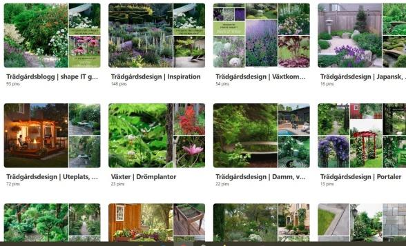 Ett urval anslagstavlor på shape IT greens Pinterest-sida.