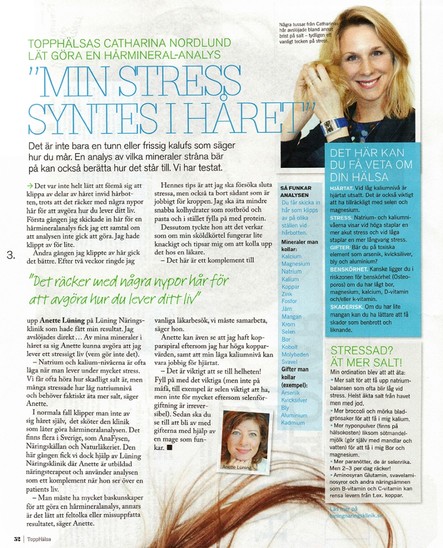 Artikel om hårmineralanalys från tidningen Topphälsa med Lüning Näringsklinik