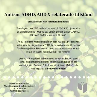 Kurs - Autism, ADHD, ADD & relaterade tillstånd 29/8 2019 - Kurs - Autism, ADHD, ADD & relaterade tillstånd