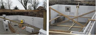 Efter några skift med frigolit legobitarna, dags för placering av pool lamporna och trappan.