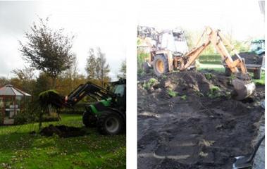 Grävningen startade en fin höstdag 2011, växter och träd fick flyttas för att maskinerna skulle få plats.